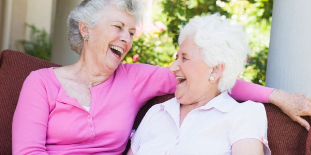 Senior women laughing